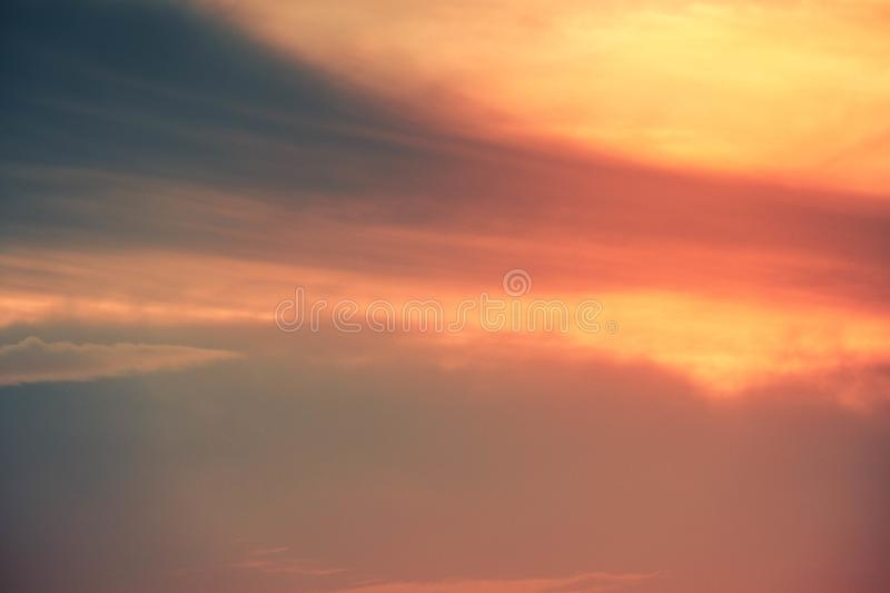 Cloud in bright rainbow colors and Colorful smooth sky in dusk. Altocumulus cloud in bright rainbow colors and Colorful smooth sky in dusk stock photography