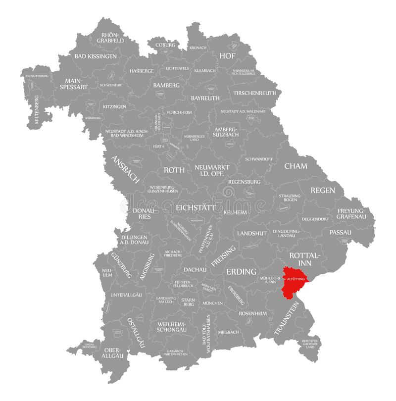Altoetting okręgu administracyjnego czerwień podkreślająca w mapie Bavaria Niemcy ilustracja wektor