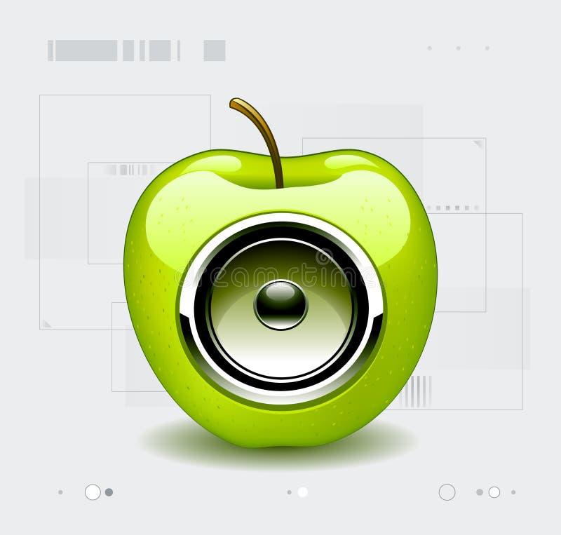 Altofalante na maçã ilustração royalty free