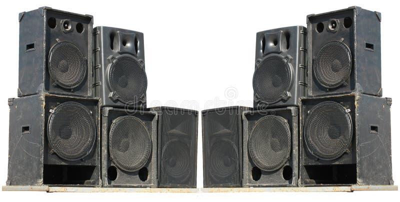 Altofalantes poderosos velhos do áudio do concerto do estágio imagens de stock
