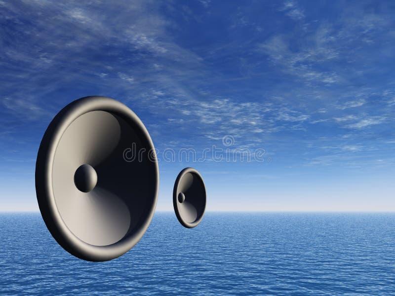 Altofalantes sobre o horizonte ilustração stock