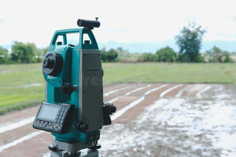 altometer para o topógrafo da terra equipamento do teodolito para s geodésico imagens de stock