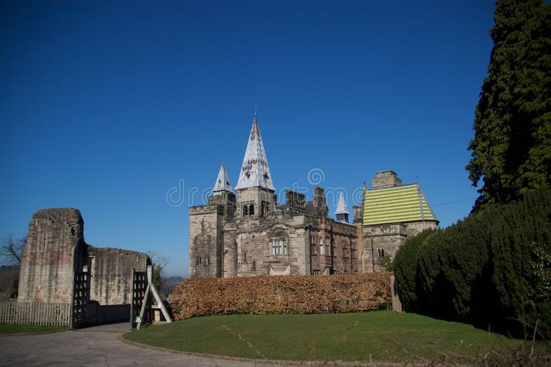 Alton castle old and new. Alton Castle in Gothic style built by AWN Pugin at Alton Village near Stoke-on-Trent Staffordshire England united kingdom royalty free stock image