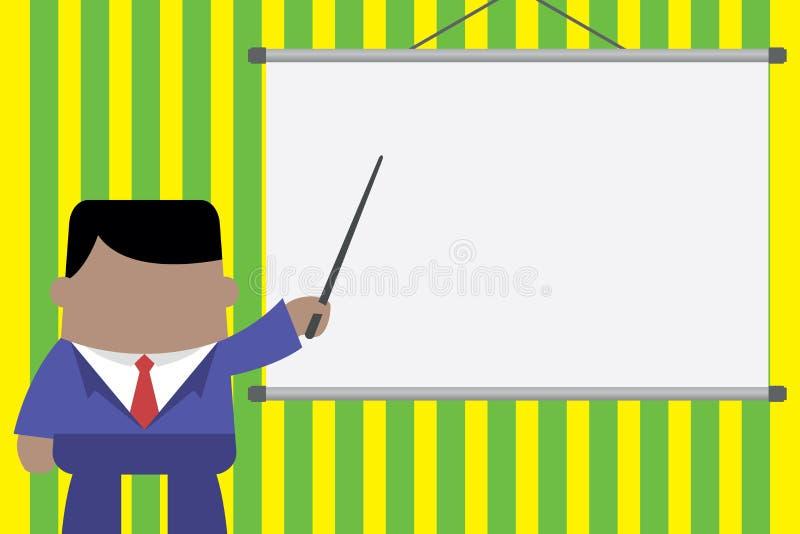 Altoparlante che d? formazione professionale Condizione esecutiva dell'uomo in schermo anteriore del proiettore Uomo d'affari che illustrazione vettoriale