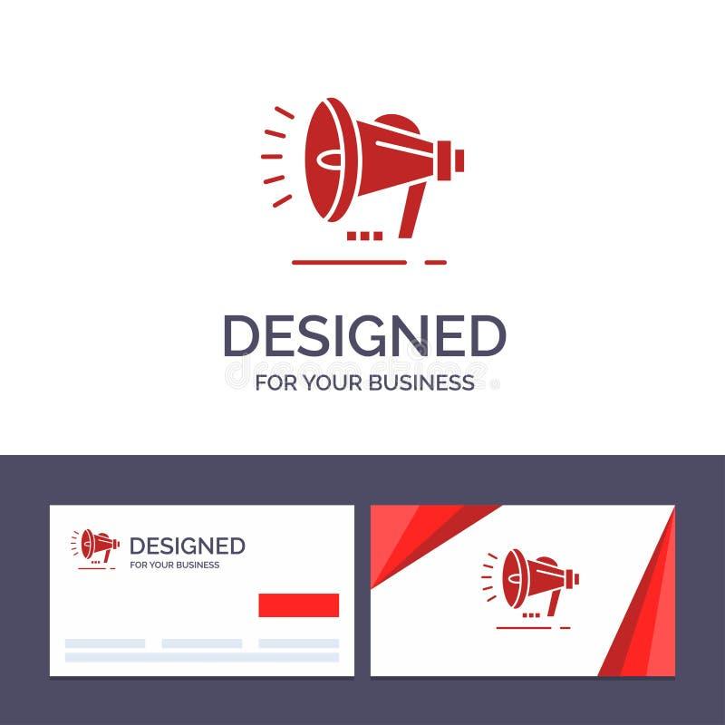 Altoparlante del modello creativo di logo e del biglietto da visita, altoparlante, voce, illustrazione di vettore di annuncio illustrazione vettoriale