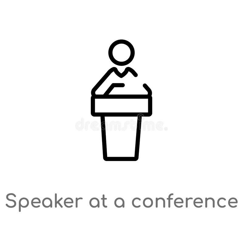 altoparlante del profilo ad un'icona di vettore di conferenza linea semplice nera isolata illustrazione dell'elemento dal concett illustrazione vettoriale