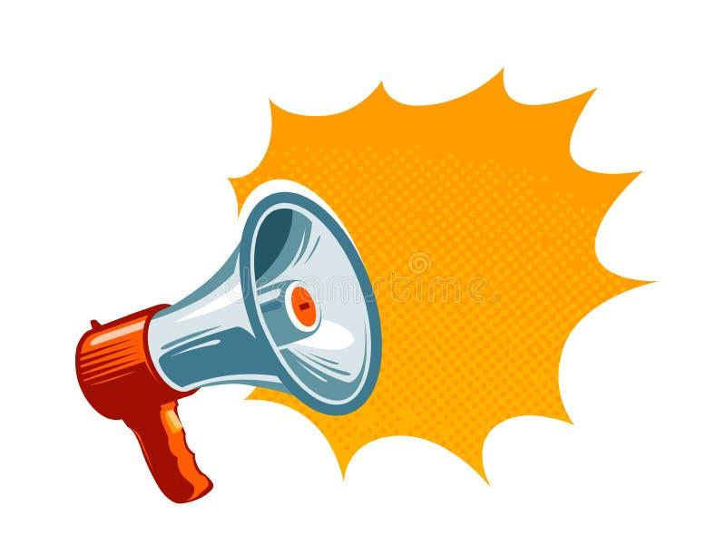 Altoparlante, megafono, icona di altoparlante o simbolo Pubblicità, concetto di promozione Illustrazione di vettore royalty illustrazione gratis