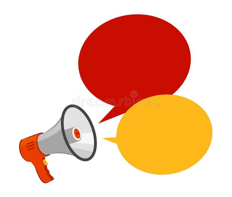 Altoparlante, megafono Pubblicità, annuncio, concetto di attenzione Illustrazione di vettore illustrazione vettoriale