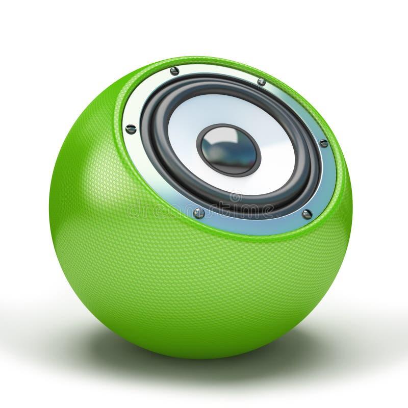 Altoparlante verde della sfera illustrazione di stock