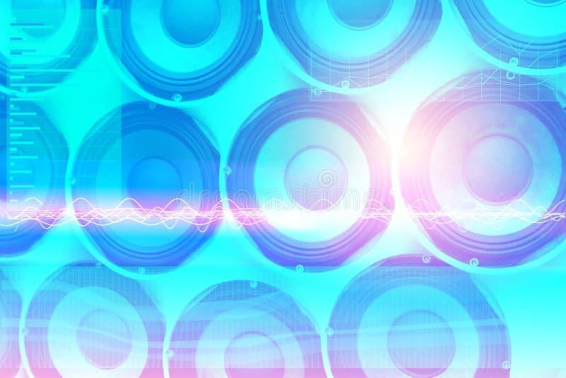 Altoparlanti di musica di fondo e grafici della gamma e della gamma dinamica di frequenza con un telecomando per la progettazione fotografie stock