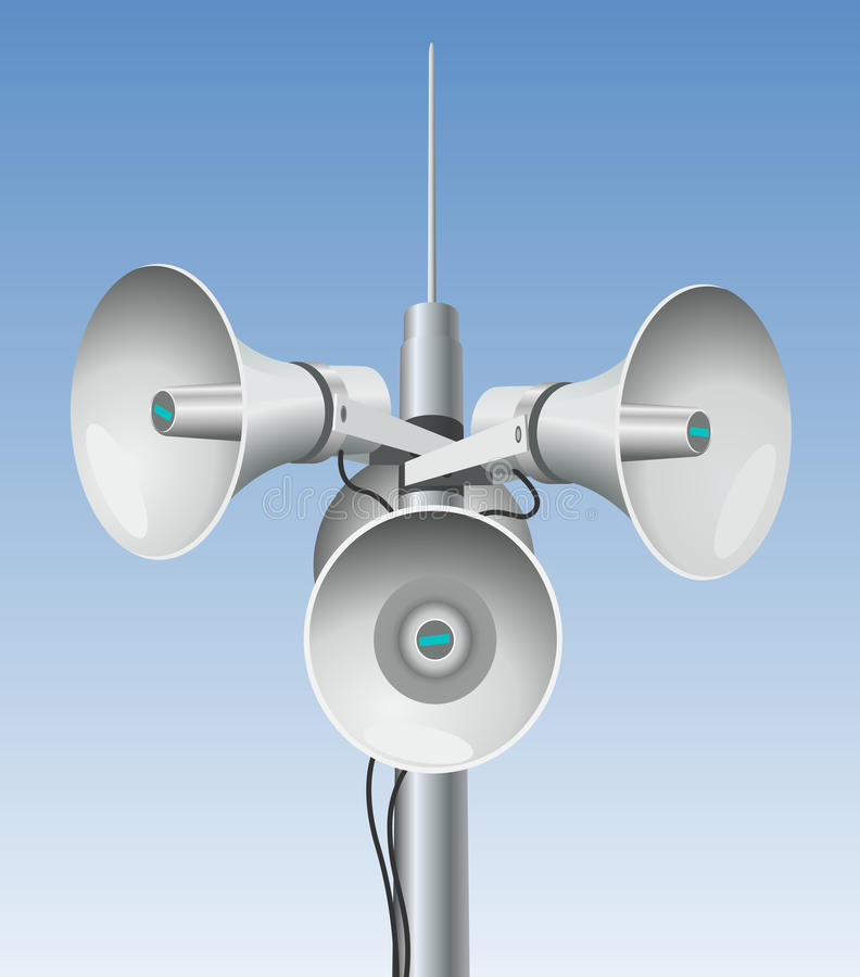 Altoparlanti - megafoni su un palo royalty illustrazione gratis