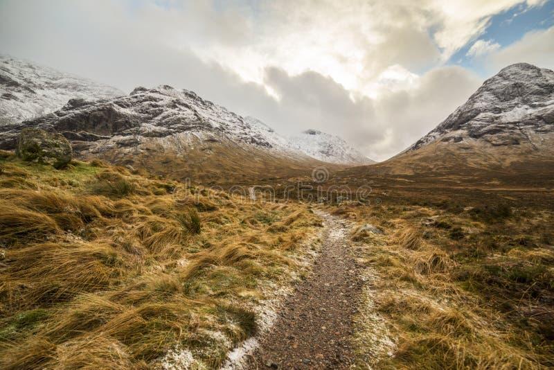 Altopiani vicino a Glencoe, bello paesaggio della Scozia di inverno per il viaggio fotografia stock