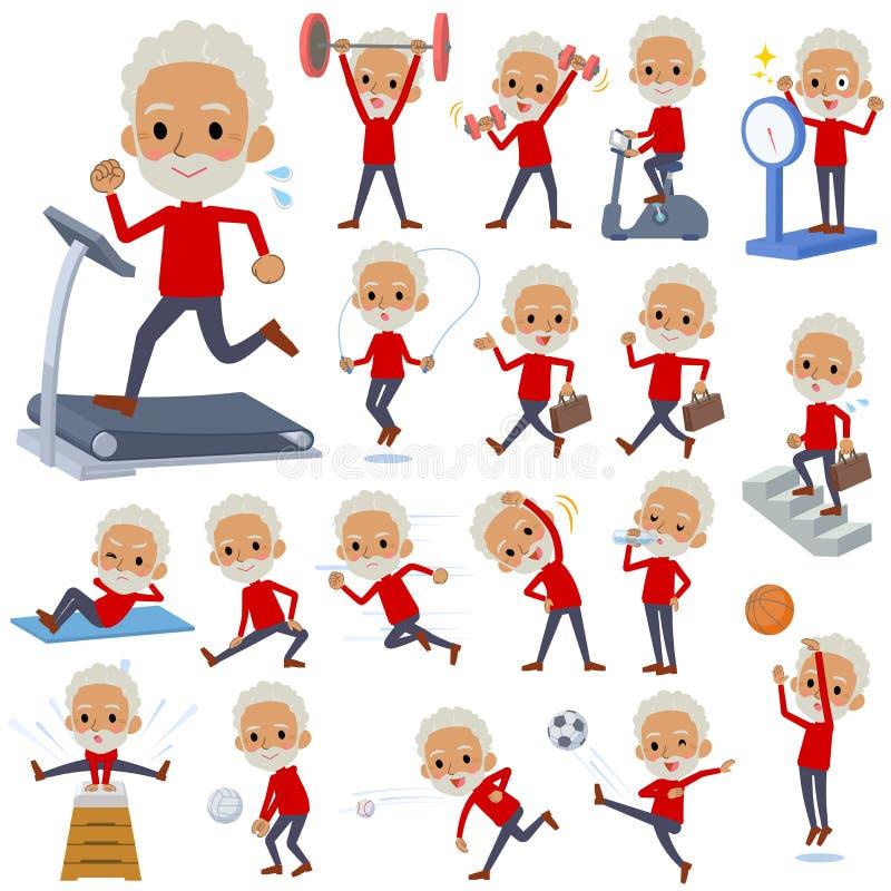 Altos black_Sports rojos y ejercicio del viejo hombre del cuello libre illustration