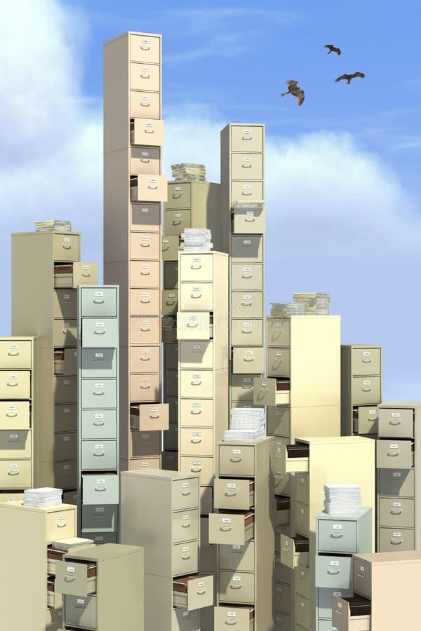 Altos cabinetes de archivo de la milla ilustración del vector