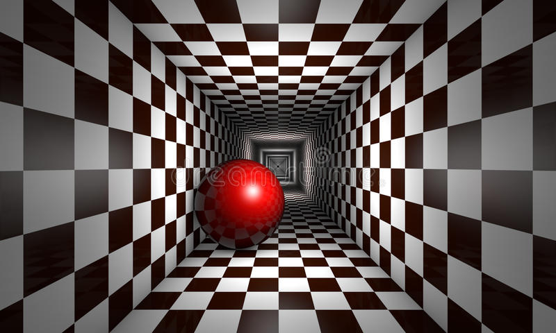 Altruism (chess metaphor). Red ball in the chess tunnel. The space and infinity. Available in high-resolution and several sizes to fit the needs of your project stock illustration
