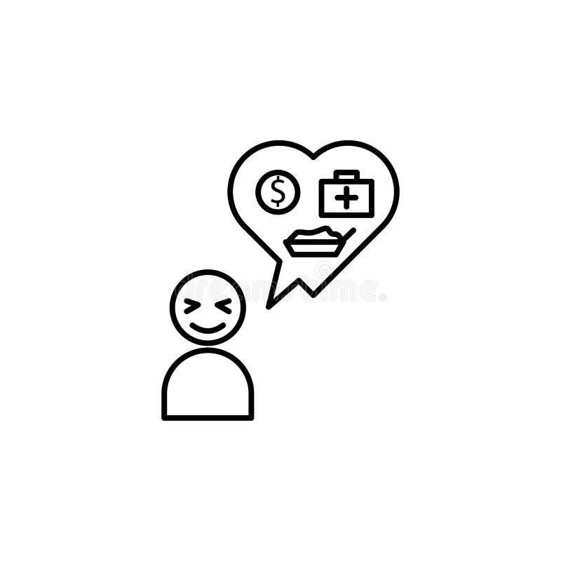 altruismo, icono de la caridad Elemento del problema y del icono sociales de los refugiados Línea fina icono para el diseño y el  libre illustration