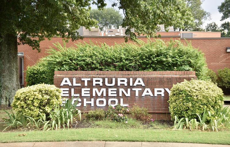 Altruria Elementary School Sign Bartlett, TN royalty free stock photo