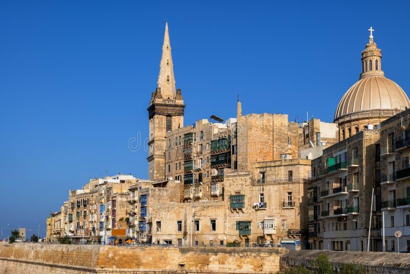 Altstadt von Valletta in Malta lizenzfreie stockfotos