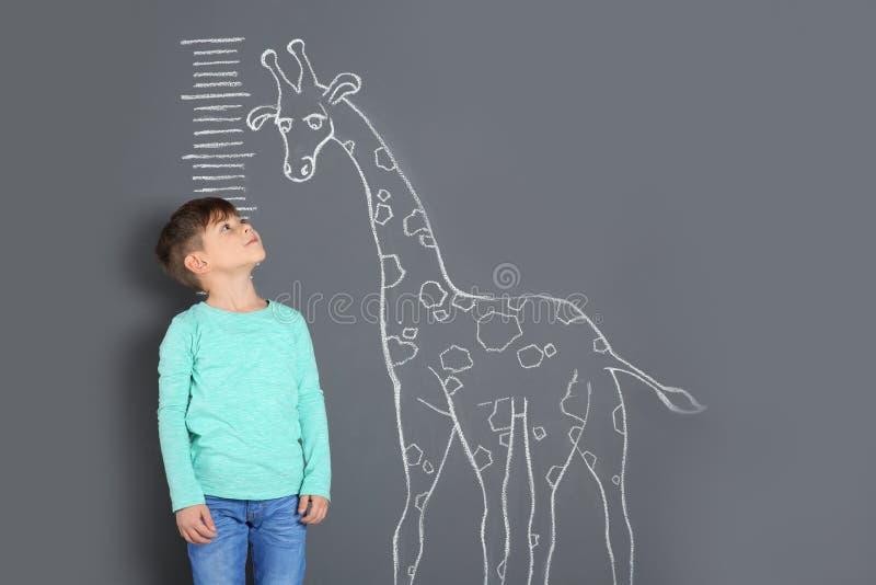 Altura de medição bonito da criança pequena perto do desenho do girafa do giz imagem de stock