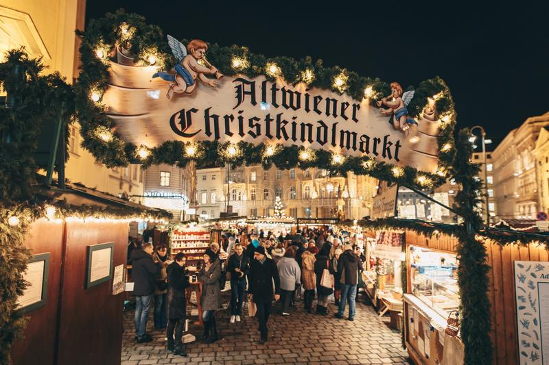 Altweiner Christmas Market traditional advent fair and the oldest market in Wien Austria royalty free stock photos