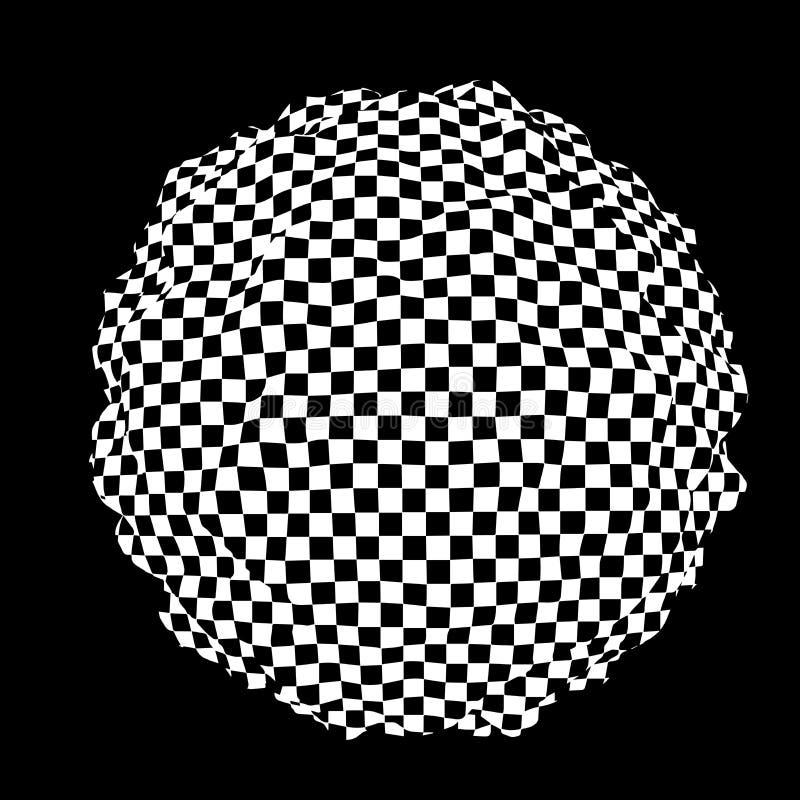 alucinaci?n Ilusi?n ?ptica Ejemplo torcido abstraiga el fondo Esfera de cuadrados Onda din?mica Vector libre illustration