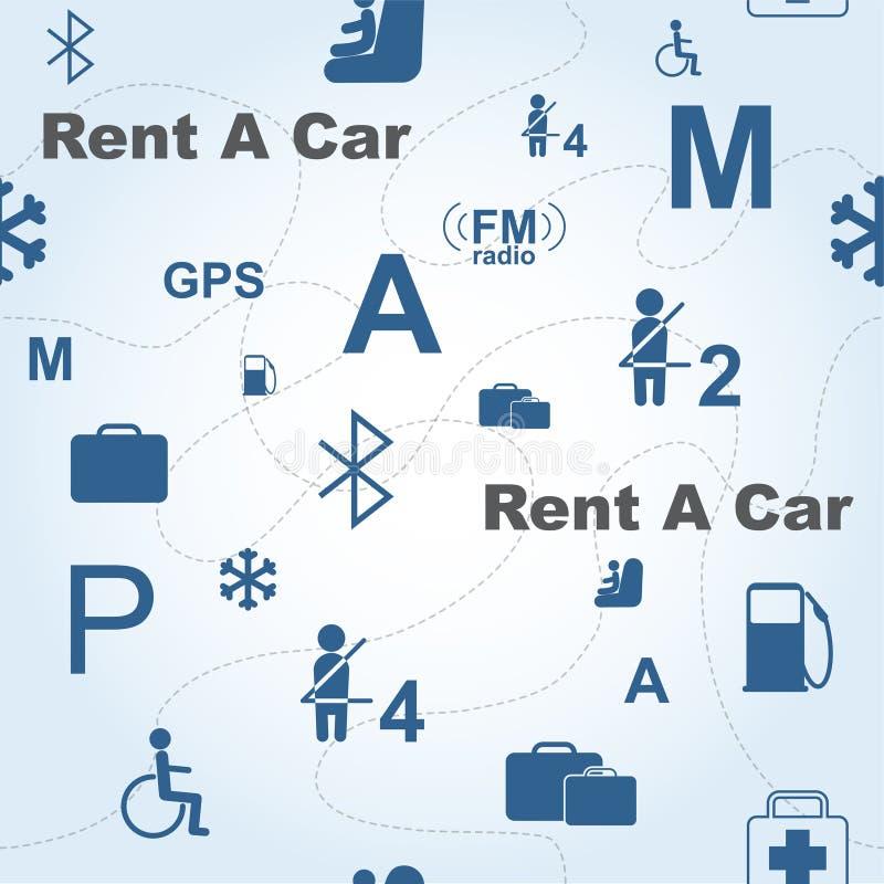 Alugue um teste padrão sem emenda do vetor do carro ilustração royalty free