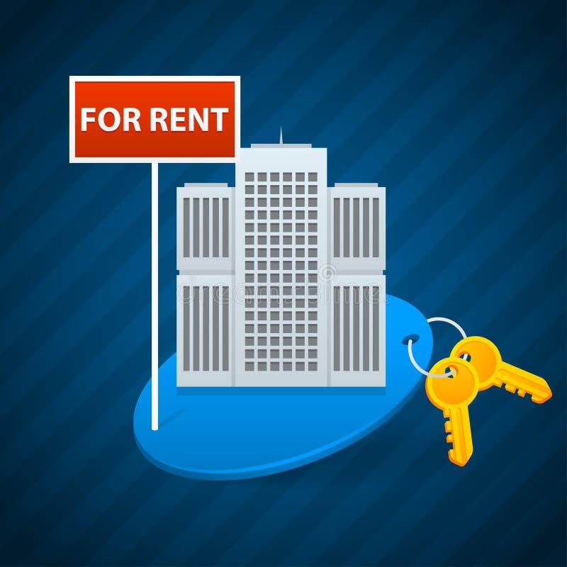 Aluguel do conceito de apartamentos da cidade ilustração royalty free