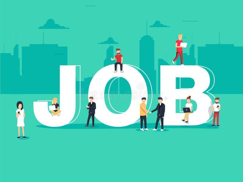 Aluguer da procura de emprego e do recrutamento Emprego para trabalhos autônomos, conceito da carreira Ilustração lisa do vetor ilustração royalty free