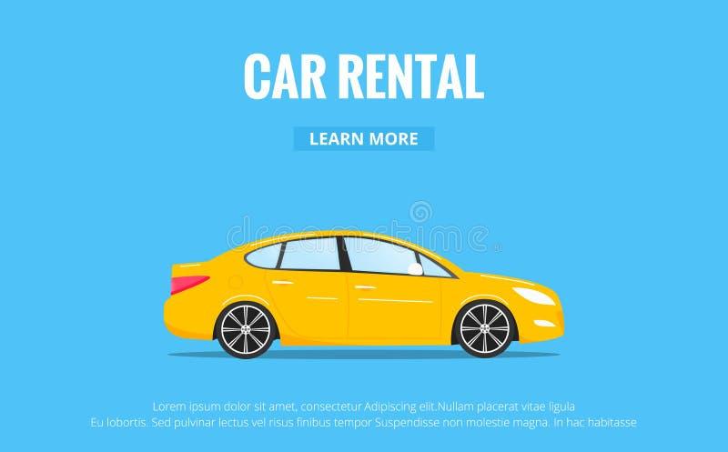 Aluguer de carros O automóvel moderno no estilo na moda com tipografia para a propaganda, Web projeta etc. Bandeira do aluguel do ilustração royalty free