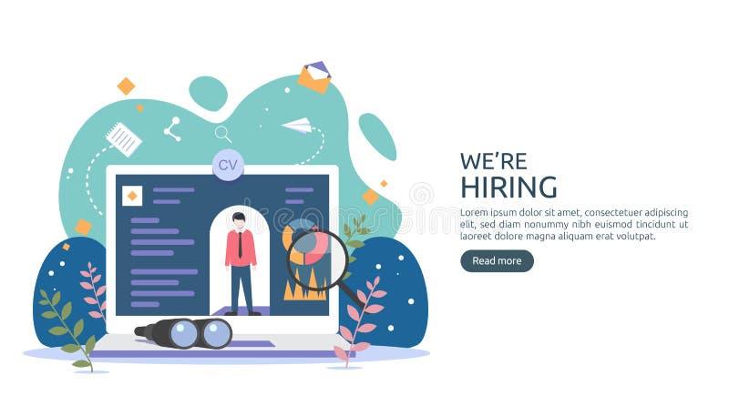 Aluguer do trabalho e conceito em linha do recrutamento com caráter minúsculo dos povos entrevista da agência selecione um proces ilustração stock