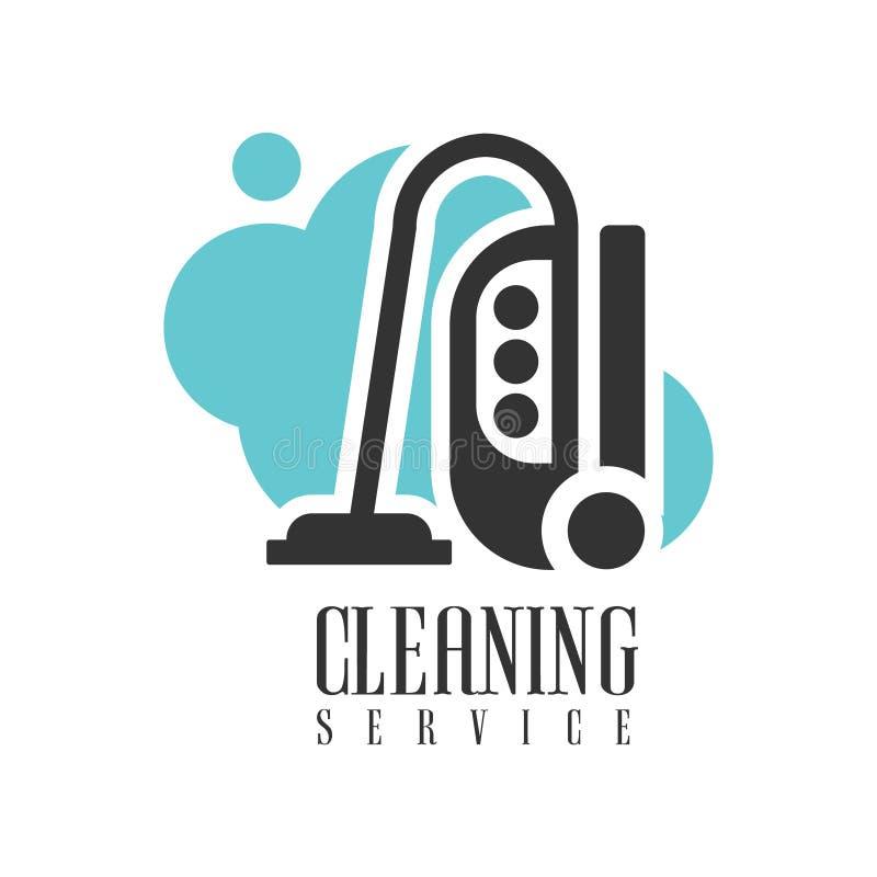 Aluguer Logo Template With Vacuum Cleaner do serviço da limpeza da casa e do escritório para a ajuda profissional dos líquidos de ilustração royalty free