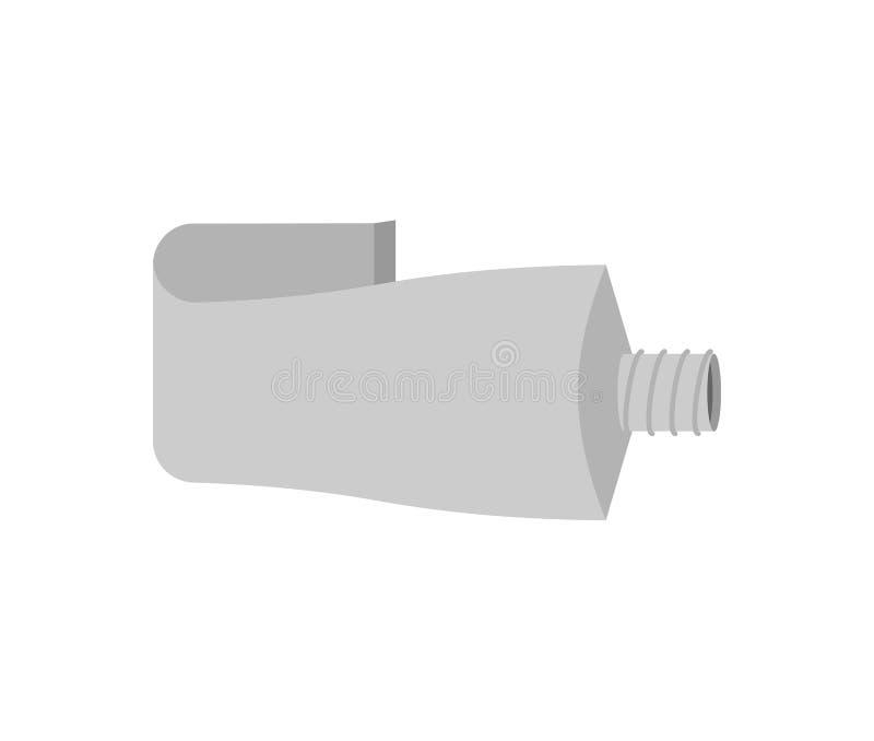 Alumínio do tubo isolado Ilustração de empacotamento vazia do vetor ilustração stock