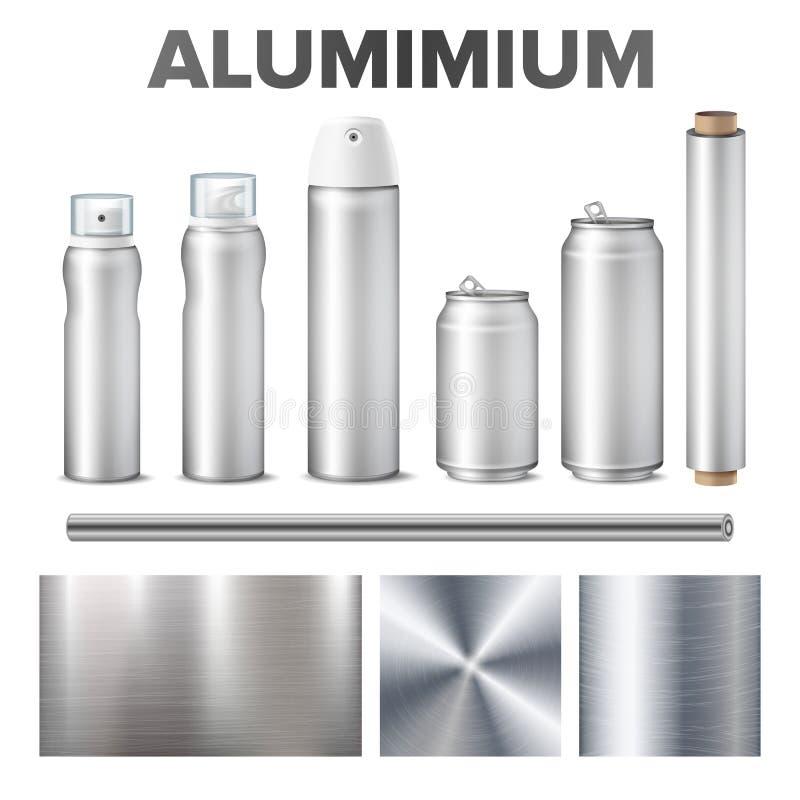 Alumínio e produto feitos do vetor do material do metal ilustração stock