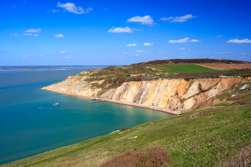 Alum Bay The Needles Isle Of Wight. Overlooking the beach and colourful sandy cliffs at Alum Bay on the Isle of Wight England UK Europe stock images