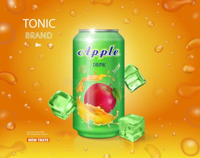 Alumimium罐苹果汁 果汁饮料广告传染媒介设计 库存例证