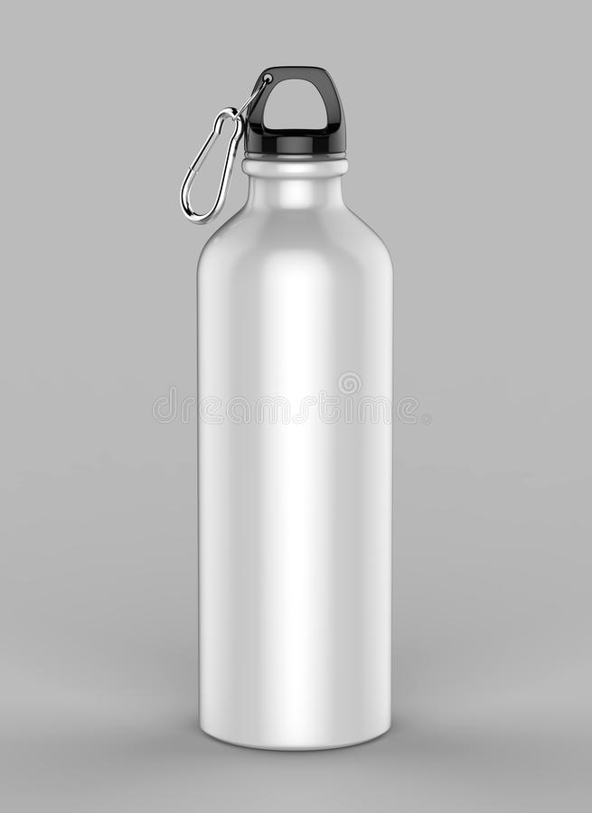 Aluminiowa biała błyszcząca sipper butelka dla egzaminu próbnego up i szablonu projekta ilustracja 3 d, obrazy royalty free