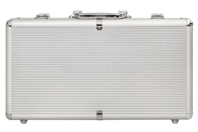 Aluminiowa Ciężka walizka Odizolowywająca Na Białym tle fotografia stock