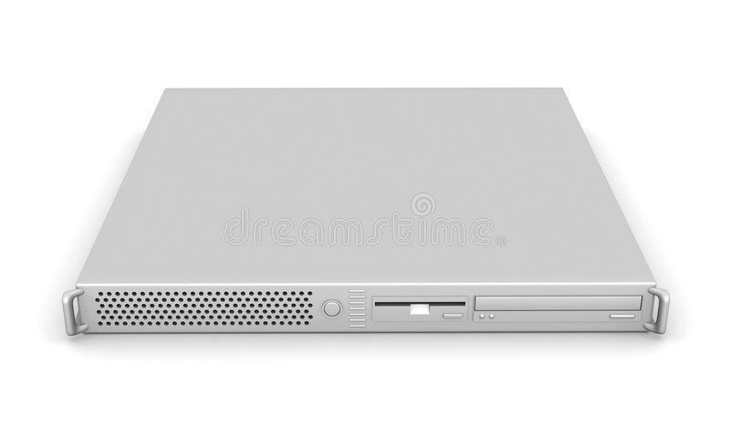 Aluminium 19inch Server. 3D rendered Illustration. 19inch Pizzabox (web)Server. Isolated on white