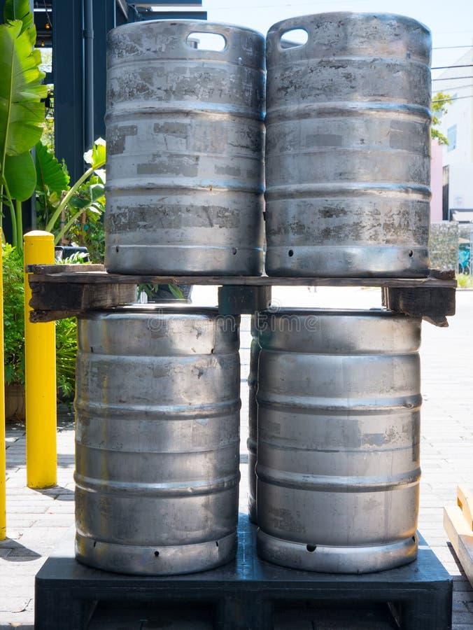 Aluminium beer kegs in rows outdoor.  stock photography