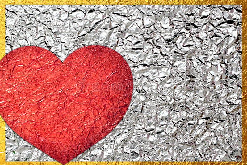 Aluminium brillant de feuille de bronze brillant de feuille de coeur photo stock