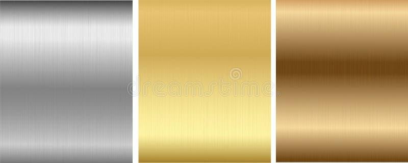 Aluminium, brons en messing gestikte texturen stock illustratie