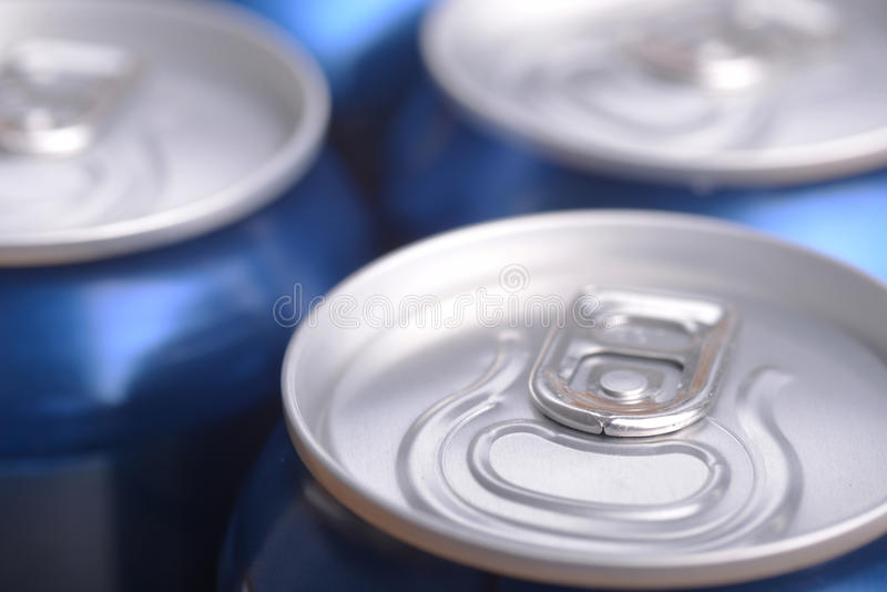 Aluminium can with drink. View from top stock photo