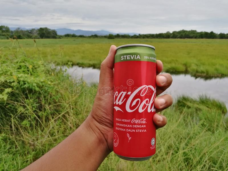 Aluminium can drink of COCA-COLA with stevia stock photos