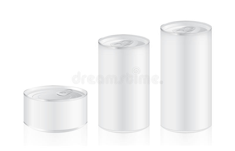 Aluminium can mock up in difference size ideal for food and other stock illustration
