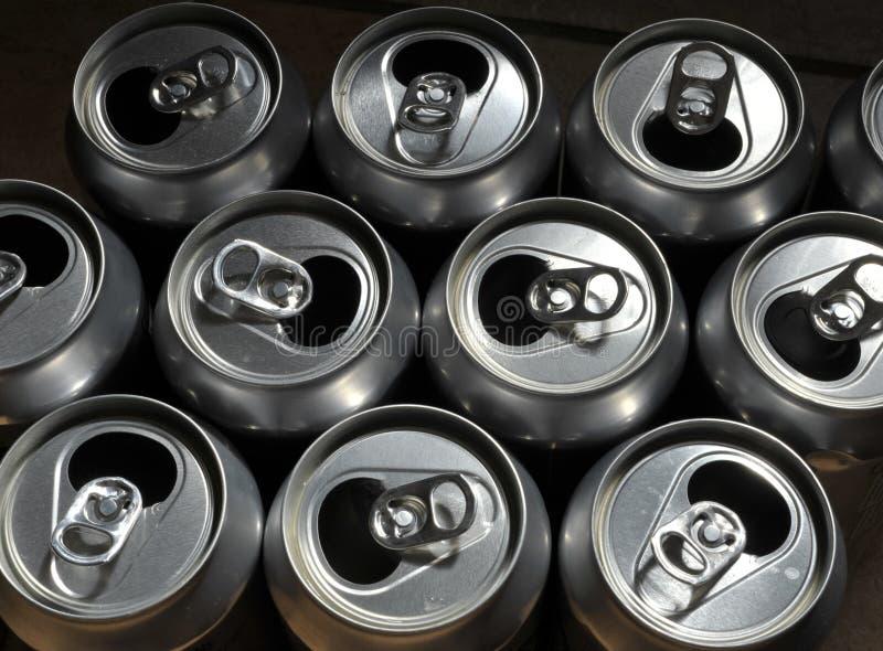 Aluminium cans. Empty aluminium or aluminum drinks cans for recycling stock photo