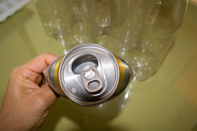 Aluminium cans. Recycle and stop pollution royalty free stock photography