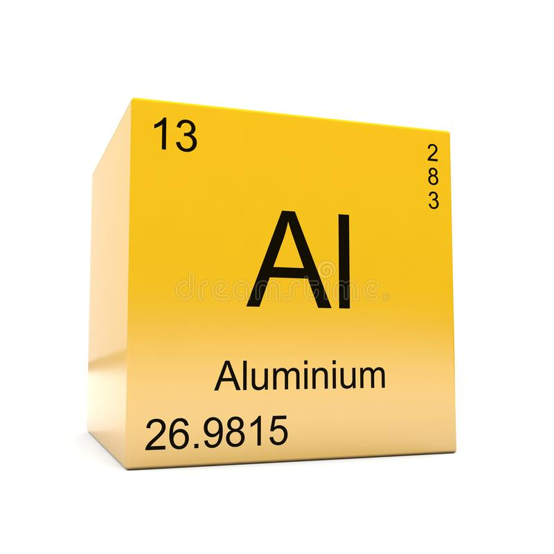 Aluminium chemical element symbol from periodic table stock aluminium chemical element symbol from the periodic table displayed on glossy yellow cube urtaz Choice Image
