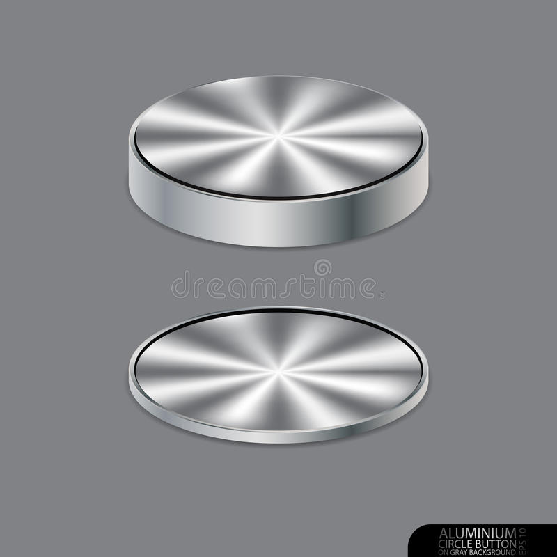 Aluminium cirkelknapp på grå bakgrund vektor illustrationer