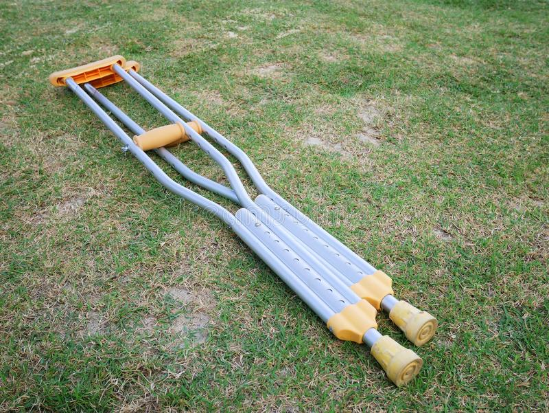 The aluminium of crutches for adult. royalty free stock photography