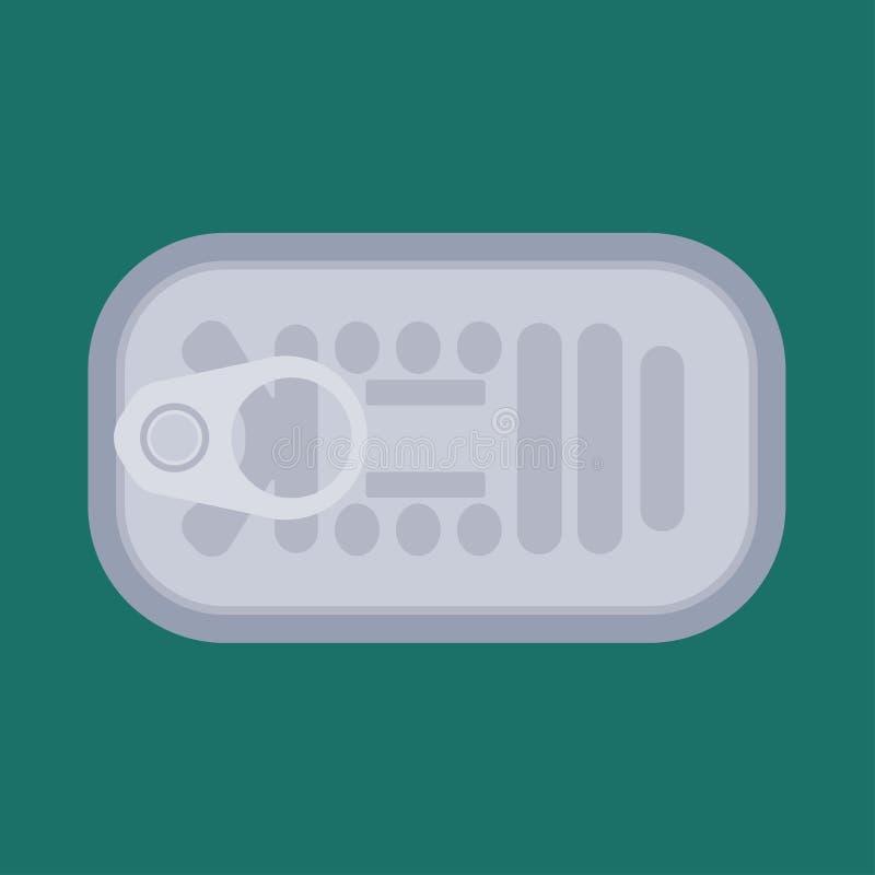 Aluminium en boîte de repas de produit des pêches conserver la vue supérieure d'icône sous-marine de vecteur Thon de mer de nourr illustration de vecteur